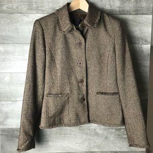 Bob Mackie raw edge brown women's blazer suitcoat
